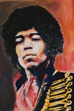 Jimi Hendrix Portrait peinture sur Angela Peters