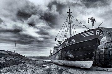 Abgelegtes Schiff im Hafen von Yerseke von Ton de Koning