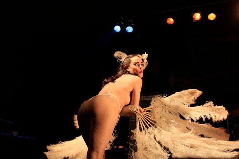 Burlesque : une femme sexy aux seins nus comme une pinup à plumes sur Atelier Liesjes