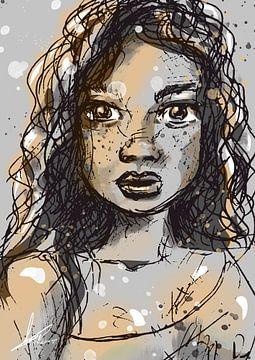 Porträt einer jungen Frau mit Locken. Goldgelbe Akzente auf weißer Leinwand. Ein Kunstwerk in Stehhö von Emiel de Lange