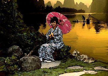 Oosterse vrouw in landschap (china girl) van Cor Heijnen