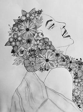 Blumenmädchen schwarz-weiß von Liv Jongman
