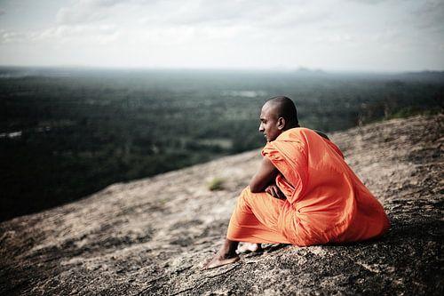 Buddhist Monk, view from Pidurangala Rock, Sigiriya, Sri Lanka