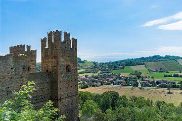 Middeleeuwse kasteeltoren kijkt uit over het landschap van Patrick Verhoef