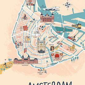 Amsterdam geïllustreerde plattegrond van Karin van der Vegt