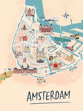 Amsterdam geïllustreerde plattegrond
