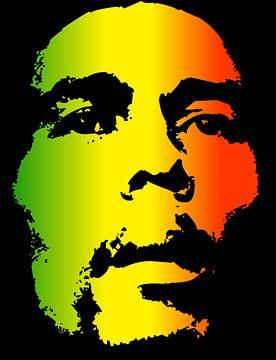 Bob Marley in Reggae-Farben
