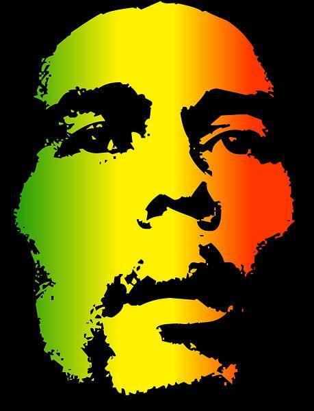 Bob Marley in Reggae-Farben von Atelier Liesjes