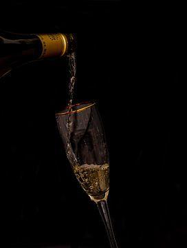 Proosten,  fles wijn met glas van Marjolein van Middelkoop