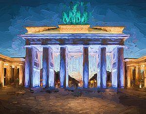 Brandenburger Tor beleuchtet Berlin gemalt van