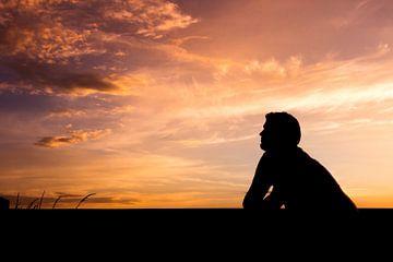 Sonnenuntergang mit Schattenportrait von Kim Bellen