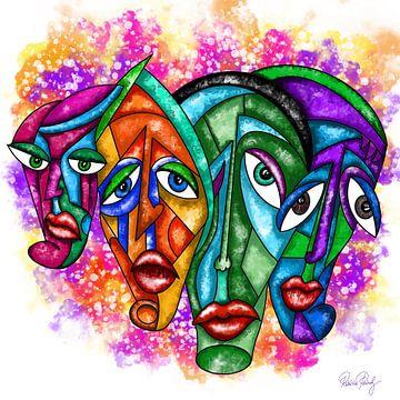 Abstrakte Kunst - Faces Urban Art von Patricia Piotrak