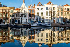 Grachtenpanden in Leiden van Richard Steenvoorden