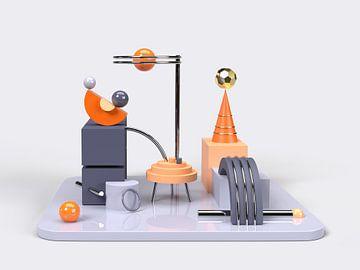 3D Abstrakte Kunst Orange Blau 2 von shoott photography