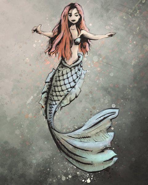Digitale Kunst - Meerjungfrau mit roten Haaren von Emiel de Lange