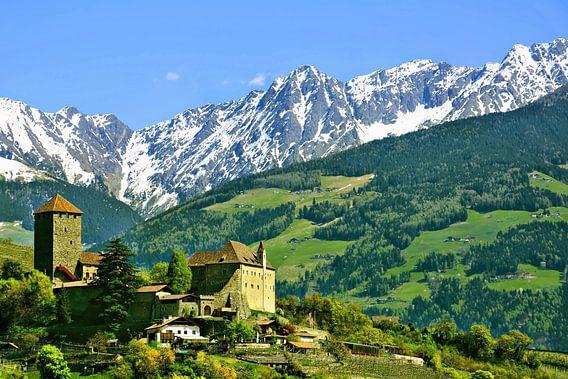 Schloss Tirol vor der Texelgruppe im Frühling