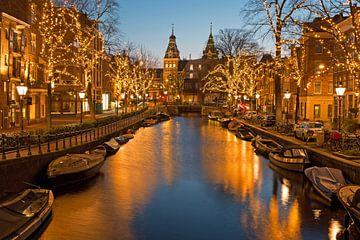 Kerstmis met het Rijksmuseum in Amsterdam Nederland bij zonsondergang van