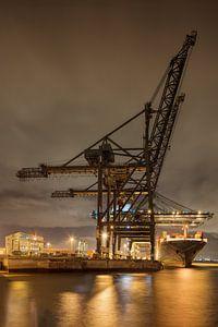 Massieve kraan op verlichte containerterminal