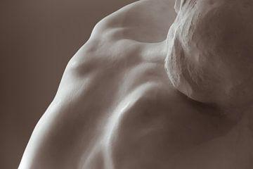 Detail van De Kus, beeldhouwwerk van Rodin - monochroom van