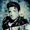 Elvis Presley Abstraktes Pop-Art-Portrait in Blau-Grau von Art By Dominic Miniaturansicht