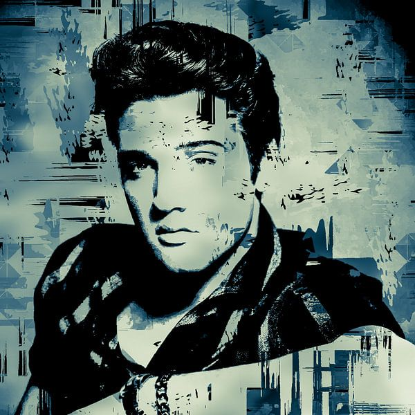 Elvis Presley Abstraktes Pop-Art-Portrait in Blau-Grau von Art By Dominic
