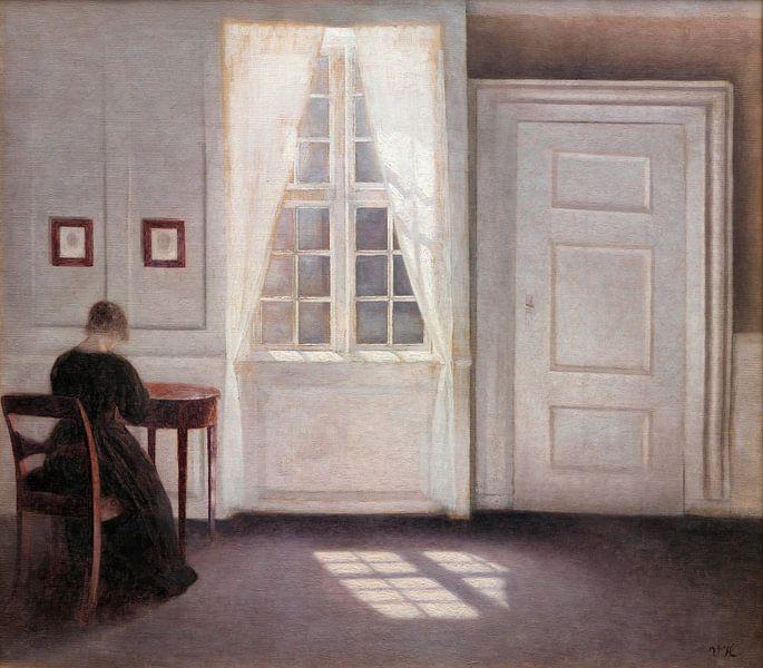 Ein Raum im Künstlerhaus in der Strandgade, Kopenhagen, mit der Ehefrau des Künstlers, Vilhelm Hamme von Meesterlijcke Meesters