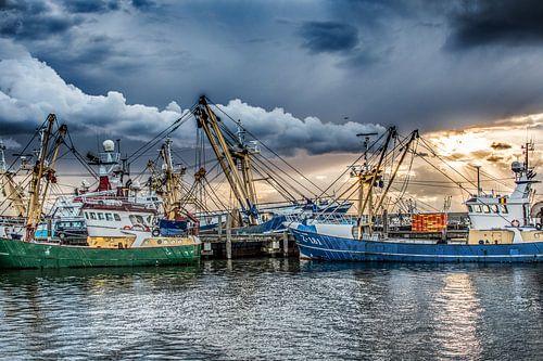 Vissersboten in de haven van Harlingen en in het avondlicht van Harrie Muis