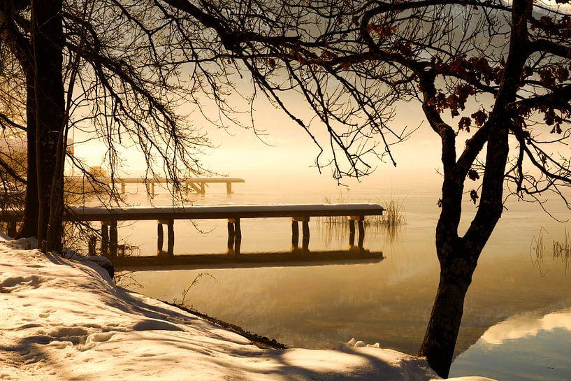 Winterlandschap aan het meer van Frank Herrmann