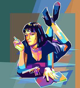 Pulp Fiction Pop Art Malerei Mia Wallace Uma Thurman