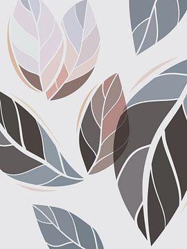 Stilistische bladeren: zand, bruin en grijstinten van Color Square