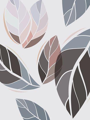 Stilistische bladeren: zand, bruin en grijstinten
