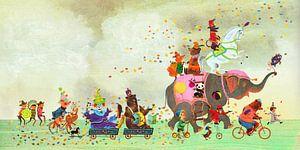 Fantasievolle prent met dieren parade van