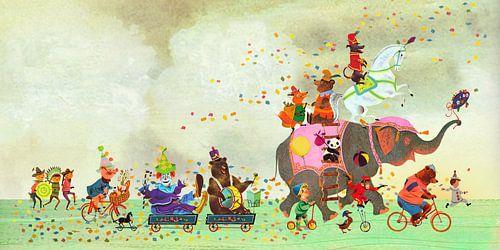 Fantasievolle prent met dieren parade