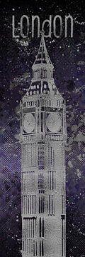 Grafische Kunst LONDEN de Big Ben| ultra violet & zilver  van Melanie Viola