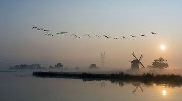 Zonsopkomst Nederland Molen Polder von Peter Vlasveld