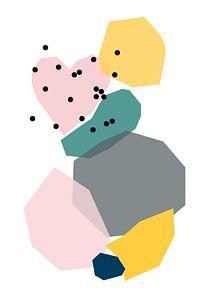 Tanzende Formen mit gepunktetem Herz - grafische Illustration