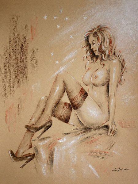 Sexy Girl in Strapsen mit schönen Brüsten - erotische Zeichnungen von Marita Zacharias