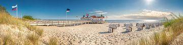 Panoramafoto van het strand bij Ahlbeck op het eiland Usedom aan de Oostzee in Mecklenburg Vorpommer van Voss Fine Art Fotografie