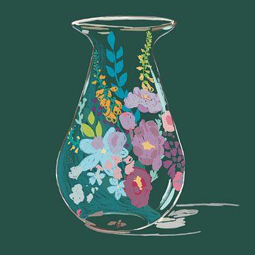 Blumenvase mit Wildblumen von Pastel Rainbow Studio