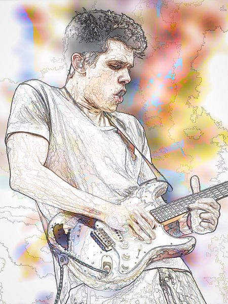 John Mayer Abstraktes Porträt in Orange-Gelb von Art By Dominic