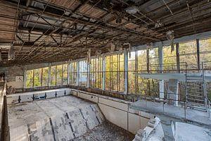 Springerbecken in Schwimmbad der Geisterstadt Prypjat bei Tschernobyl