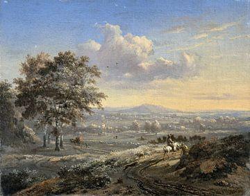Heuvelachtig landschap met een ruiter op een landweg, Jan Wijnants