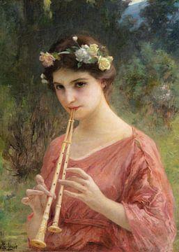 Eine junge Frau spielt die Doppelflöte
