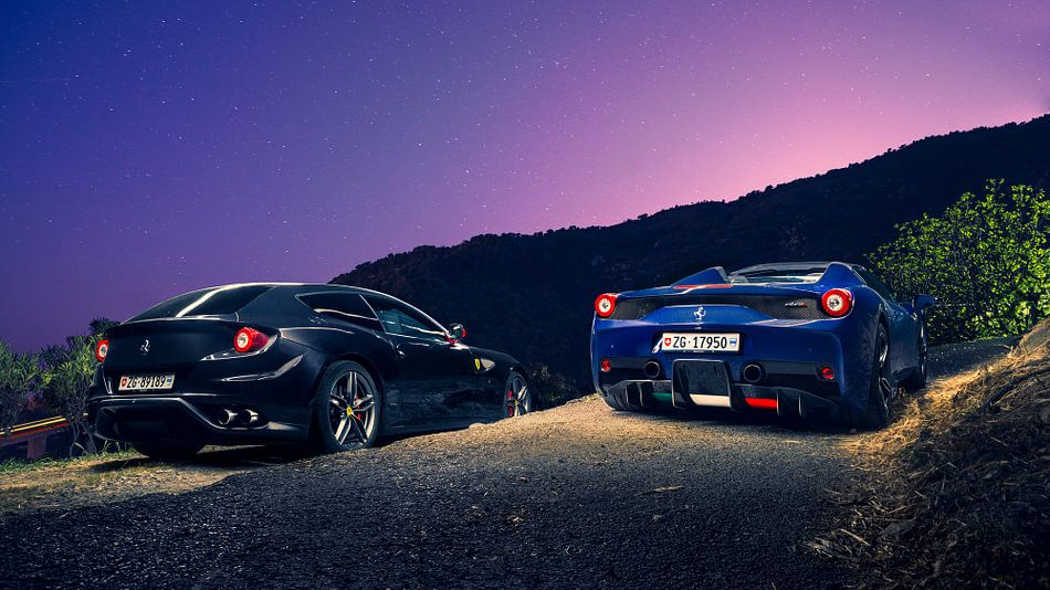 Ferrari 458 Aperta en FF in de bergen bij Monaco