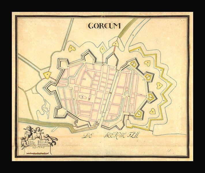Ancien plan de la ville de Gorinchem datant d'environ 1652. sur Gert Hilbink