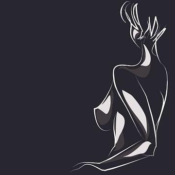 Donker naaktmodel op tekening van Atelier Liesjes
