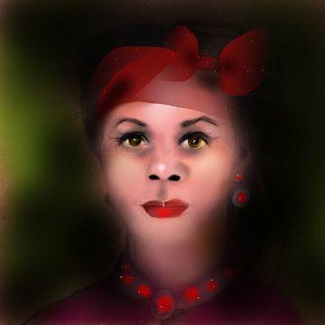 Vrouw met rode  sieraden van Raina Versluis