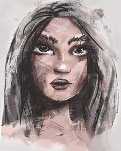 Zähe junge Frau - Portrait digital koloriert