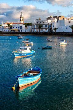 Boats on Charca de San Gines, Arrecife. Lanzarote island, Spain. van