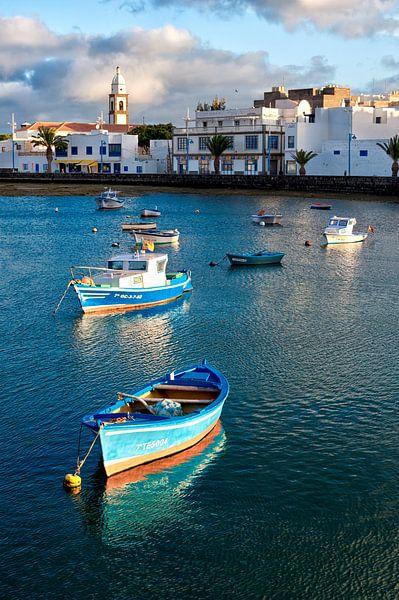 Boats on Charca de San Gines, Arrecife. Lanzarote island, Spain.
